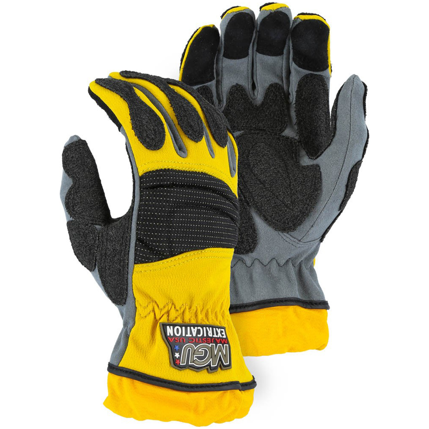 Majestic Extrication Gloves Yellow and Grey