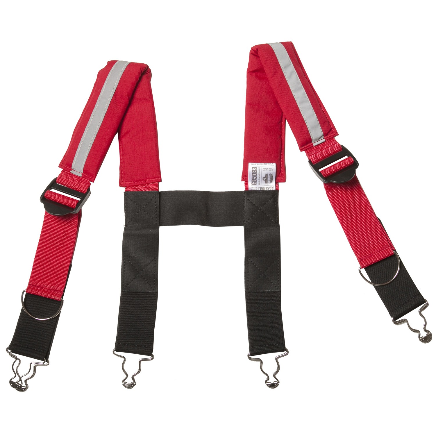 Red Ricochet Firefighter Suspenders with Button Attachments